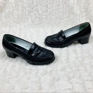 Tommy Hilfiger black leather heeled loafers